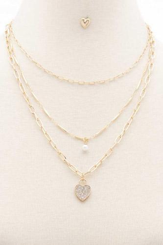 Rhinestone Heart Charm Layered Necklace
