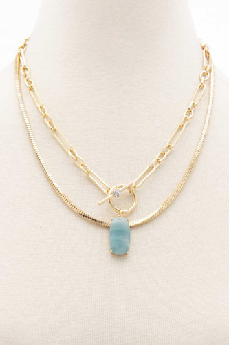 Oval Stone Toggle Clasp Layered Necklace