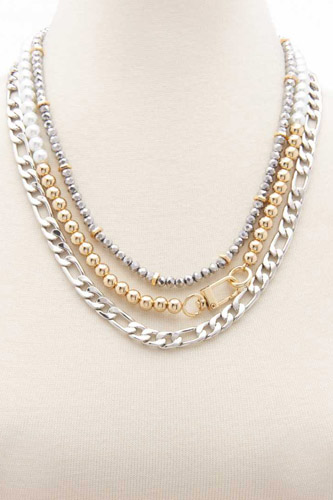 Two Tone Figaro Ball Link Layered Necklace