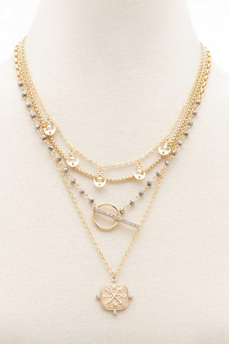 Square Shape Toggle Beaded Layered Necklace