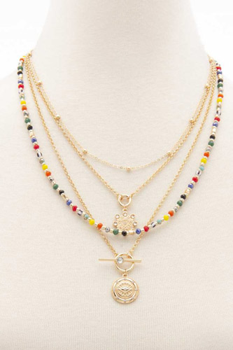 Evil Eye Charm Seed Bead Layered Necklace