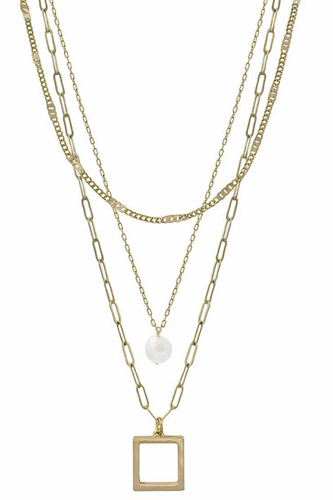 3 Layered Metal Chain Square & Pearl Pendant Necklace