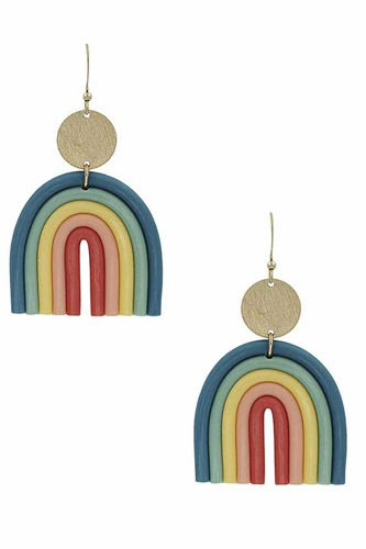 Fashion Metal Clay Mix Rainbow Dangle Earring