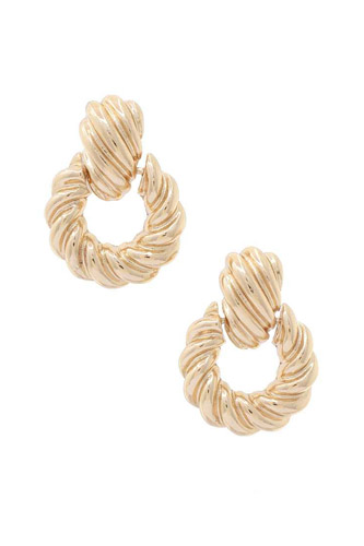 Croissant Texture Metal Post Earring