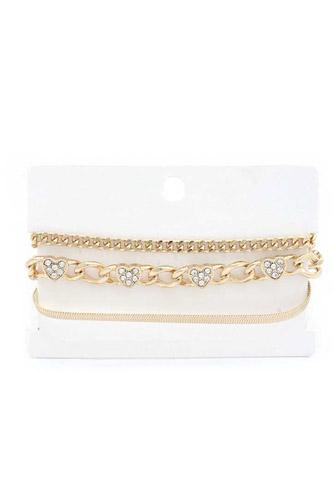 Heart Link Metal Bracelet Set