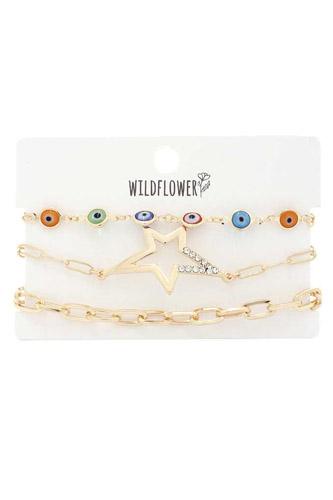 Star Evil Charm Oval Link Metal Bracelet Set