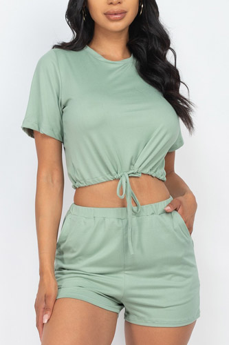 Adjustable Front Tied Crop Top & Shorts Casual Summer Sets
