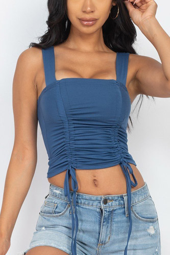 Adjustable Front Ruched With String Square Neck Crop Tops