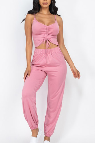 Front Ruched With Adjustable String Cami Casual/summer Jumpsuit