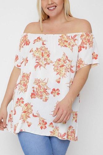 Floral Print Off The Shoulder Top