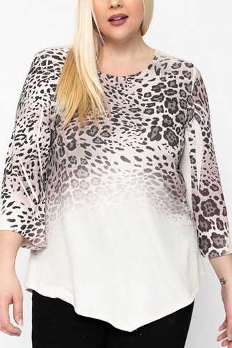 Cheetah Print Top Featuring A Round Neckline And 3/4 Bell Sleeves