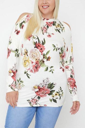 Flattering Cutout Details Floral Print Top
