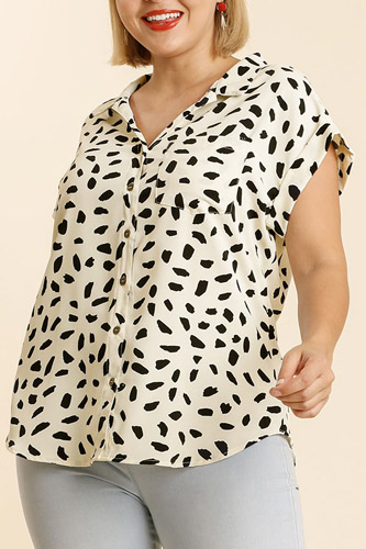 V-neck Dalmatian Print Button Front Top With Pocket Detail