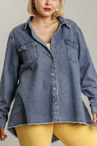 Chest Pockets Collar Button Down Denim Jacket With Unfinished High Low Hem