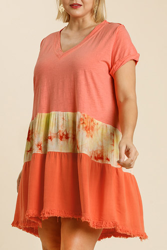 Tie Dye V-neck Short Folded Sleeve Raw Edged Detail Dress With Fringed Hem