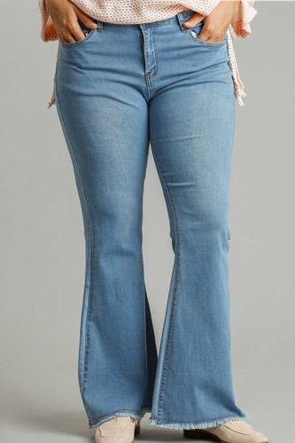 High Rise Stretch Denim Wide Leg Flare Jeans