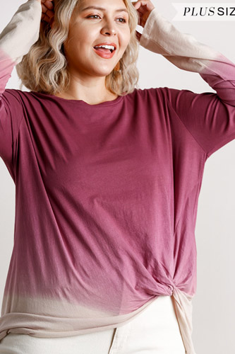 Ombre Print Long Sleeve Top With Gathered Front Detail And Raw Hem