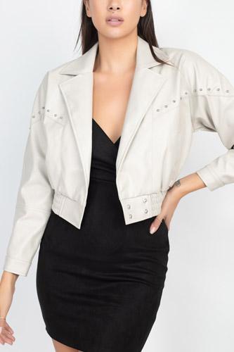Crop Studded Moto Jacket