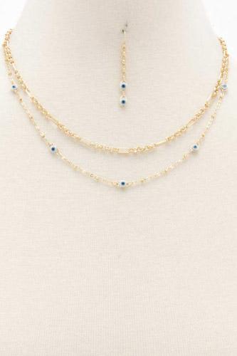 Evil Eye Charm Layered Necklace