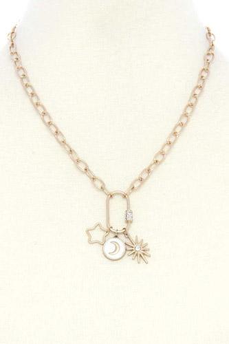 Star Moon Screw Lock Pendant Necklace