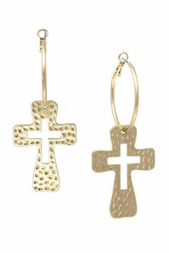 Metal Cross Dangle Hoop Earring