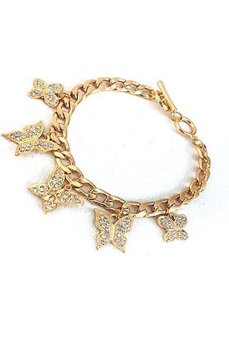 Hot Trendy Rhinestone Butterfly Dangle Chain Bracelet