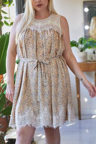 Plus Printed Round Neck Sleeveless Mini Dress