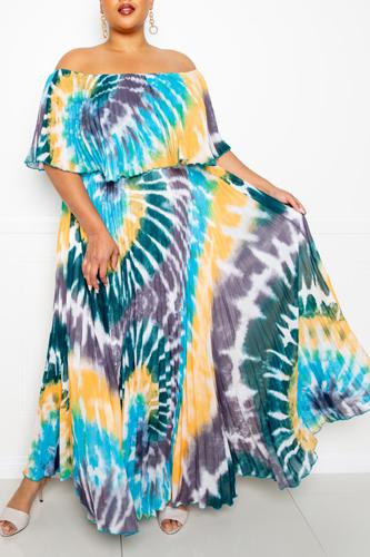 Tie Dye Off Shoulder Pleated Maxi Dress