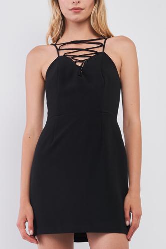 Black Slim Fit Sleeveless V-neck Front Corset Inspired Tie-up Detail Cocktail Mini Dress