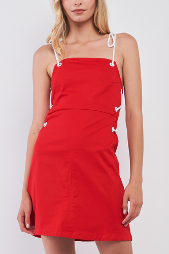 Lace-up Straps Sleeveless Square Neck Fitted Mini Dress