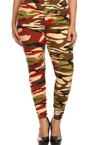 Camo Print, Banded, Full Length Leggings In A Fitted Style With A High Waisted