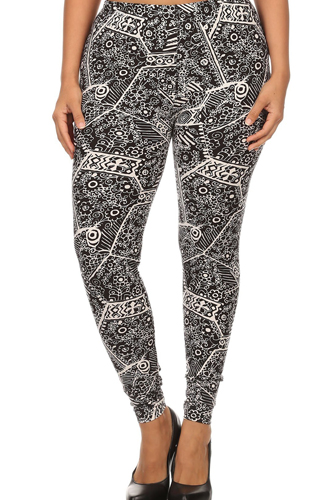 Plus Size Ornate Print Full Length Fitted Leggings With High Elastic Waist