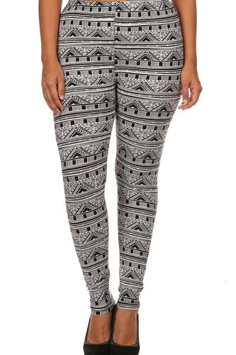 Knit, Tribal Pattern Print, Full Length Leggings With Elastic Waist