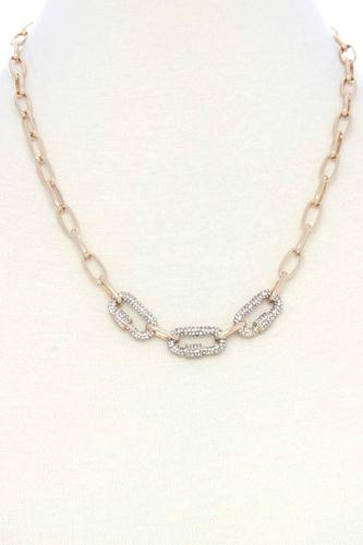 3 Screw Lcok Rhinestone Charm Oval Link Metal Necklace