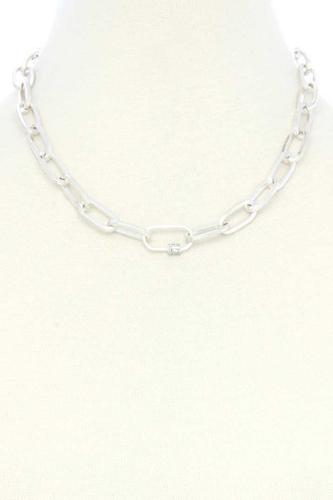 Dainty Rhinestone Roll Oval Link Necklace