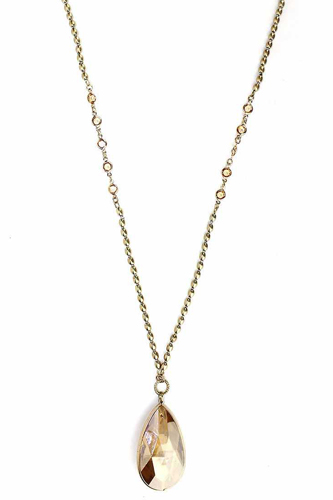 Metal Chain Crystal Stone Pendant Long Necklace