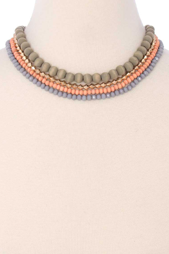 4 Layered Mix Bead Necklace
