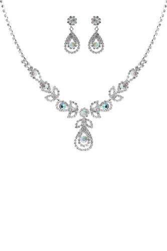 Raindrop Rhinestone Double Necklace And Earring Set