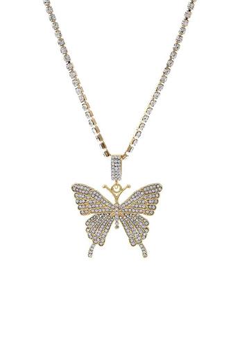 Fashion Rhinestone Butterfly Pendant Necklace