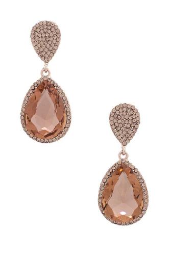 Teardrop Rhinestone Edge Elegant Earring