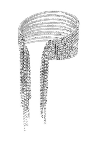 Fashion Rhinestone 10 Row Fringe Open Wire Bracelet