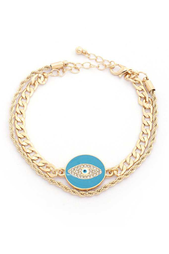 Evil Eye Curb Link Layered Bracelet