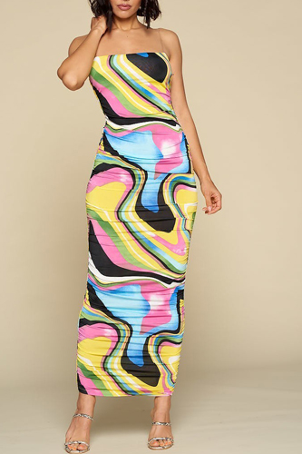 Multicolor Bodycon Maxi Dress, Clear Spaghetti Straps, Ruched Detail