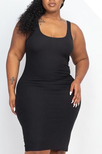 Plus Size Back Slit Bodycon Dress