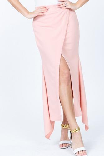 Front Overlap Asymmetrical Hem Skirt