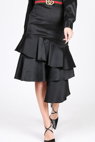 Asymmetrical Ruffle Bottom Satin Skirt