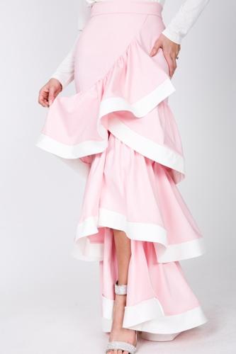 Contrast Hem Ruffle Layer Maxi Skirt
