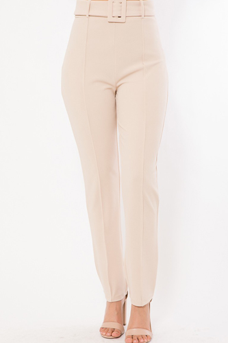 Ankle Tapered Self-fabric Buckle Belt Pants