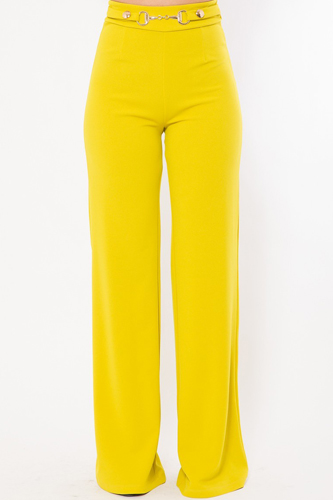 Waist Button And Buckle Detailed Fashion Pants