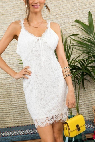 Lace Crochet Mini Dress With Hidden Back Zipper